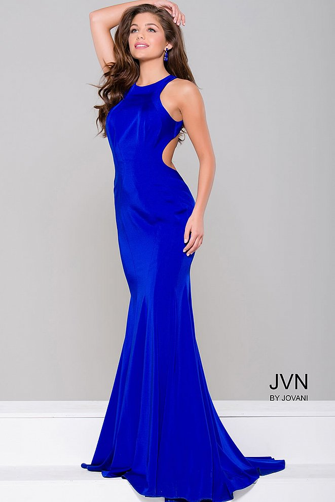 Simple Royal Fitted Open Back Dress JVN41874
