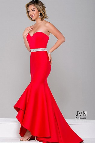 Red Strapless High Low Dress JVN41956