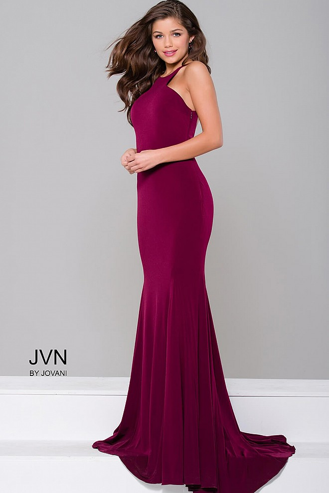 Burgundy Jersey Fitted Open Back Dress JVN42892