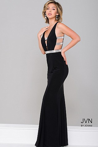 Black Cut out Sleeveless Jersey Dress JVN45578