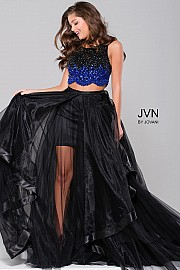 Black Two Piece Embellished Prom Dress JVN45593