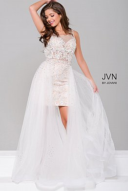 White Lace Sheer Neckline Dress with Tulle Overlay JVN45673