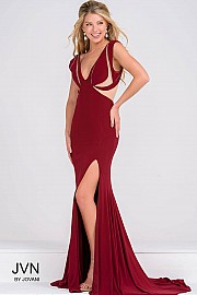 Red Fitted Jersey High Slit Dress with Sheer Panel JVN45911