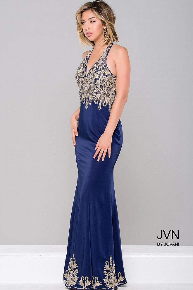 Navy Nude Sleeveless Long Bridesmaid Dress JVN46281
