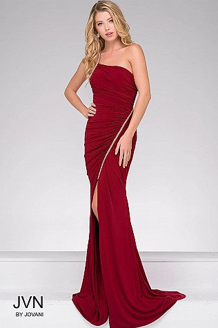 Red Jersey High Slit Ruched Bodice Dress JVN46616