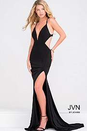 Jvn Black Fitted Open Back Prom Dress with Side Cut out JVN46903