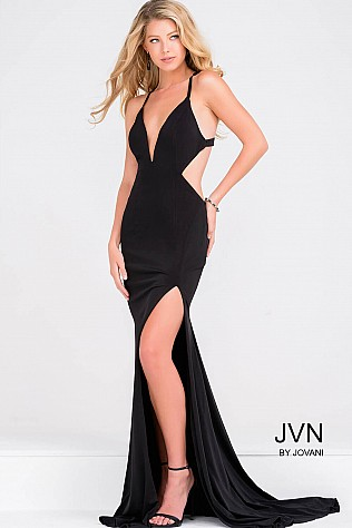 Black Fitted Open Back Prom Dress with Side Cut out JVN46903