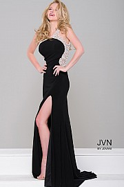 Black Jersey Embellished High Slit Dress JVN47030