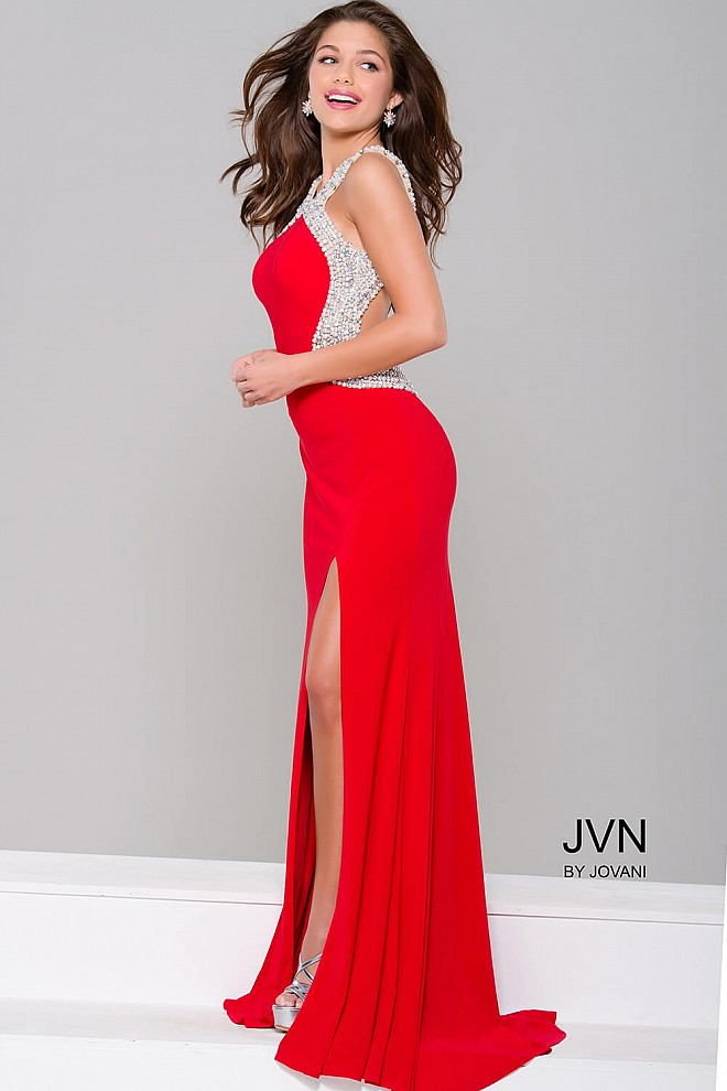 Red and Silver Embellished Open Back Dress JVN47030