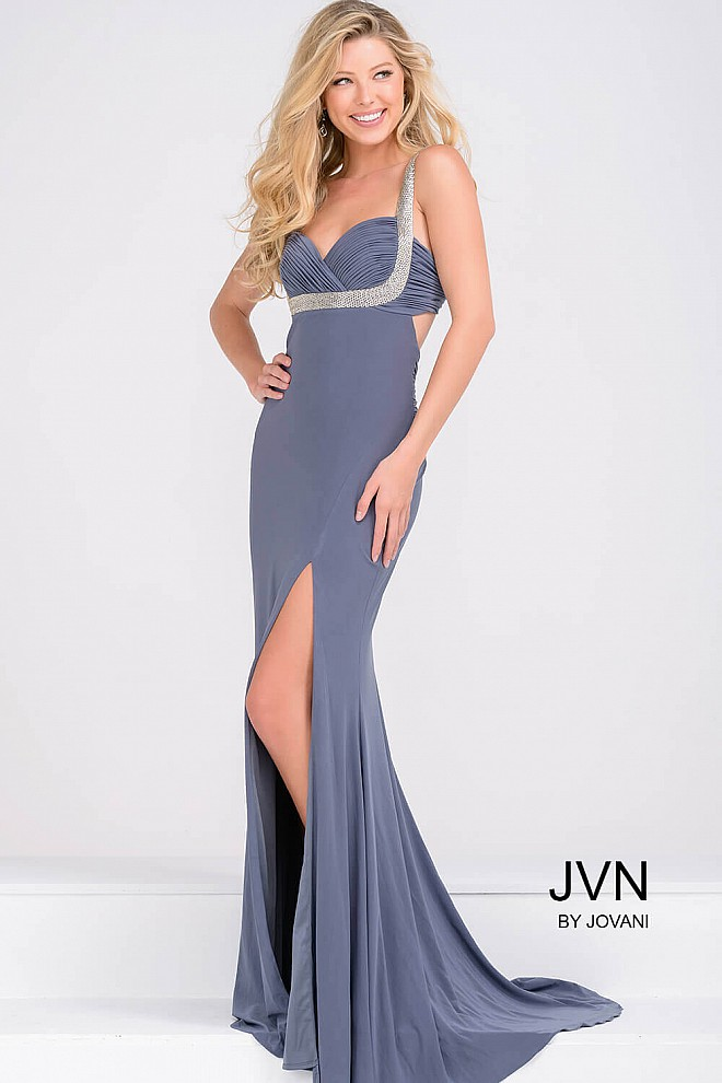 Grey Open Back Jersey High Slit Prom Dress JVN47552