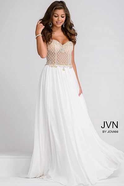 Ivory and Nude Beaded Top with Chiffon Skirt Prom Dress JVN47719