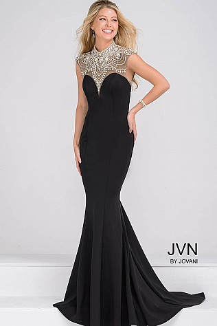 Crystal Embellihsed and Sheer Neckline Mermaid Prom Dress JVN47786