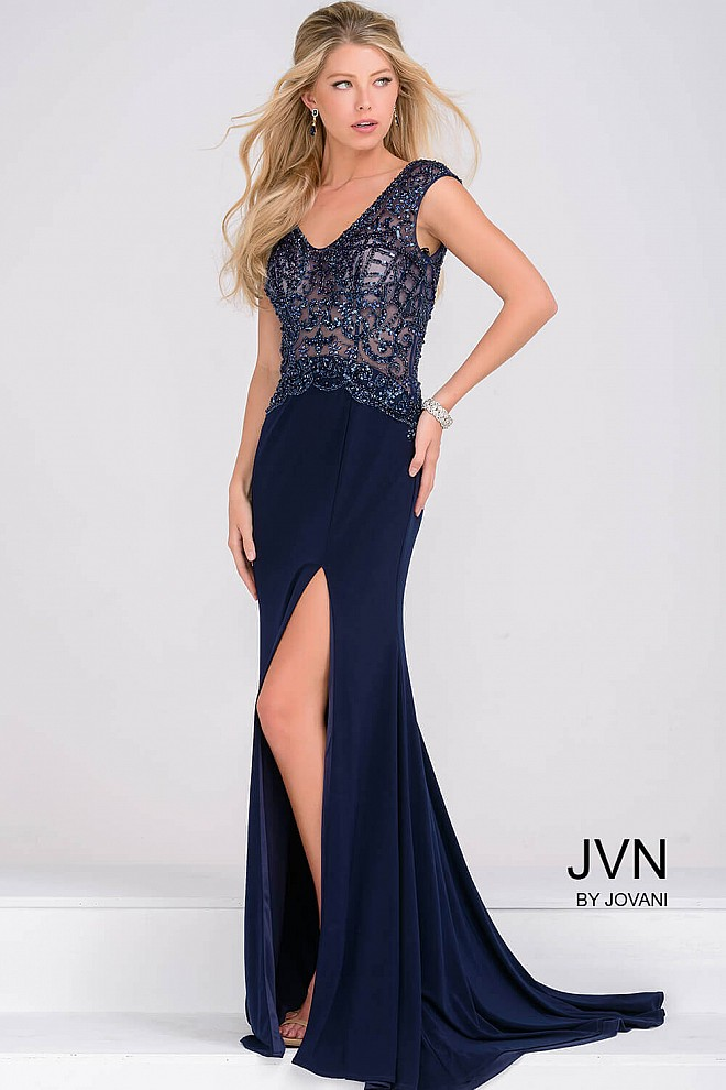 Navy Beaded Bodice Jersey High Slit Dress JVN47867