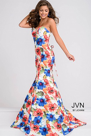 Multi Color Sweetheart Neck Mermaid Prom Dress JVN47893