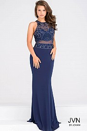 Navy Sheer Neckline Beaded Bodice Sleeveless Dress JVN48639