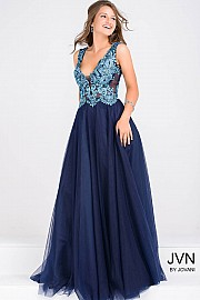 Navy V Neck Fit and Flare Prom Ballgown JVN48647