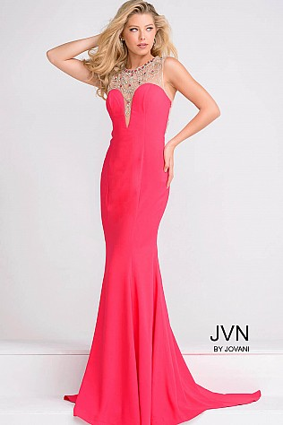 Red Fitted Embellished Neckline Sheer Back Dress  JVN48834