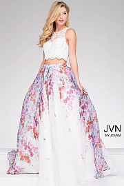 Ivory Multi Lace Bodice Two Piece A line Dress JVN48843