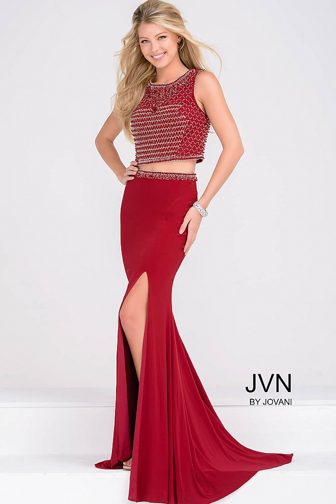 Red Two Piece Jersey High Slit Dress JVN49602