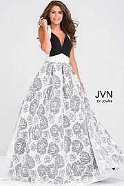 Black and Ivory Floral A line Skirt Prom Dress JVN49641