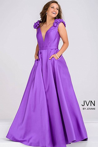 Lilac Mikado Long A Line Bridesmaid Dress JVN88999