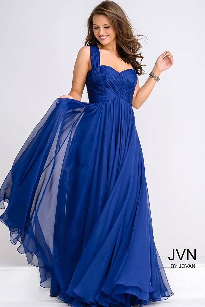 Sweetheart Neckline Ruched Bodice Chiffon Dress JVN94199