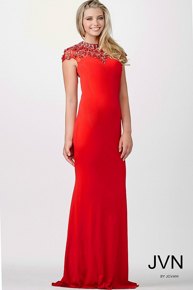 Red Cap Sleeve Prom Dress JVN98119