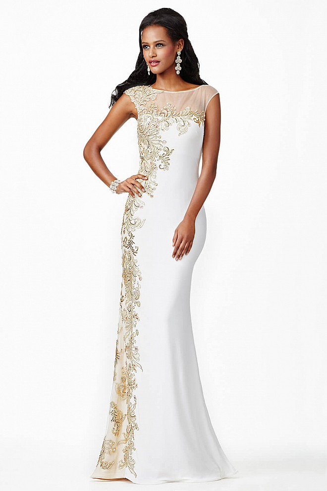 White Sheer Neckline Prom Dress JVN98300