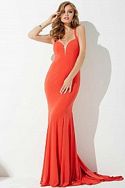 Red Fitted Jersey Prom Dress JVN25092