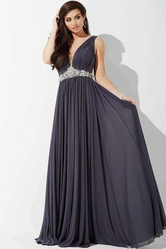 Gunmetal Jeweled Waistline Prom Dress JVNP35206