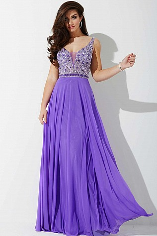 Purple Chiffon Beaded Prom Dress JVNP36865