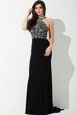 Black Fitted Jersey Prom Dress JVNP36867