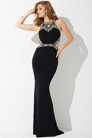 Black Open Back Jersey Prom Dress JVNP36868