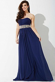 Navy Stretch Mesh Strapless Prom Dress JVNP37074