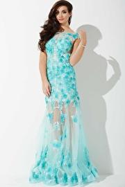 Aqua Floral Sheer Prom Dress JVNP37960
