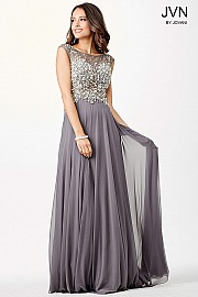 Grey Sheer Neckline Prom Dress JVN33472