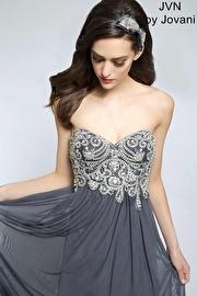 Grey Crystal Embellished Prom Dress JVN20365