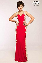 Red Long Jersey Prom Dress JVN99392