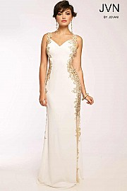 White Long Jersey Gown JVN99392