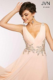 Pink Sleeveless Chiffon Long Bridesmaid Dress JVN99401