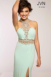 Mint Halter Jersey Prom Dress JVN20530