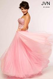 Pink Sequin Strapless Ballgown JVN24734