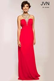Red Halter Empire Waist Dress JVN98641