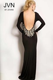 Black Long Sleeve Backless Dress JVN23098