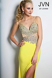Yellow Jersey Fitted Prom Dress JVN20246