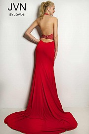 Red Halter Jersey Prom Dress JVN24844