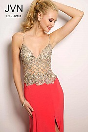 Coral Crystal Embellished Dress JVN25420