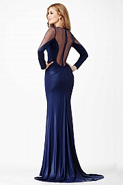 Blue Long Sleeve Prom Dress JVN23077