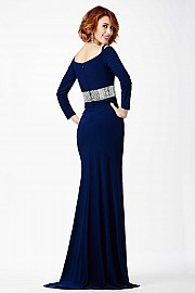 Blue Off the Shoulder Prom Dress JVN24744
