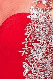 Red Open Back Jersey Dress JVN25406